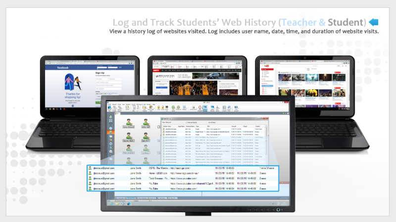 History of Students' Chromebook Activity  - Instructors can view students chromebook activity - SoftLINK For Chromebook